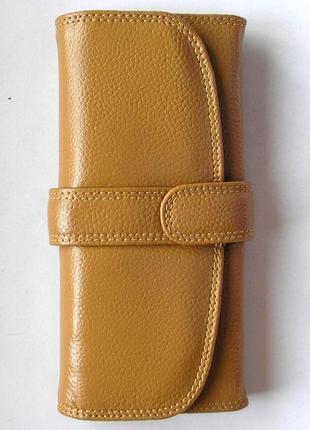 Кожаный классический кошелек горчица, 100% натуральная кожа, есть доставка бесплатно