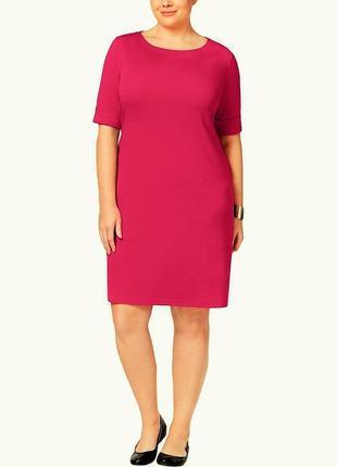 """Платье футболка 100% cotton цвет розовый """"барби"""" с рукавами почти до локтя, plus 1x"""
