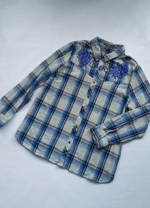 Рубашка в клетку с вышивкой мягкая хлопковая primark