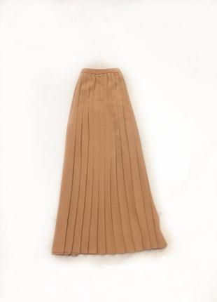 Юбка плиссе, плиссированная, плиссировка, m-l, бежевая, светло коричневая