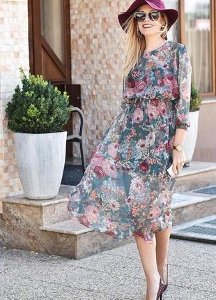 Платье zara цветы шифон миди