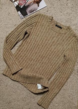 Incity cтильный, теплый свитер в широкий рубчик, меланжевого бежевого цвета