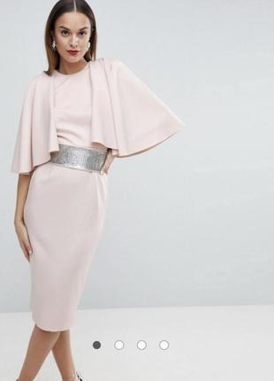 Распродажа 🔥 вечернее шикарное бежевое платье миди облегающее от asos размер s/m