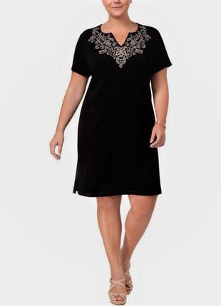 Платье футболка в пейзанском стиле, вырез лодочка с мысиком, размер plus 1x (52-54 рр)