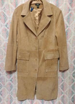 Шикарный кожаный плащ пальто  большой размер 20