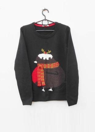 Вязаный зимний свитер с длинным рукавом с рисунком