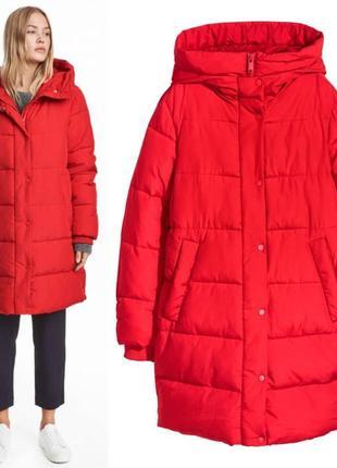 Красная утепленная куртка h&m,демисезонная курточка овер сайз