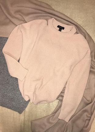 Пудровый удлиннённый свитер с разрезами на плечах оверсайз new look, p.s(36)