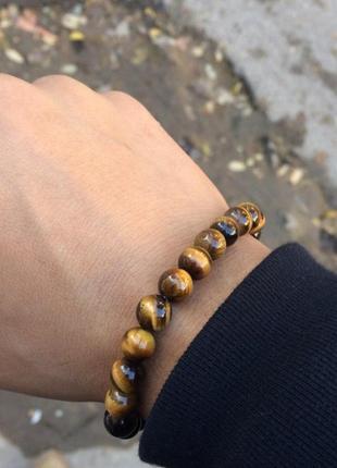 Отличный подарок-браслет для мужчин из камня тигровый глаз