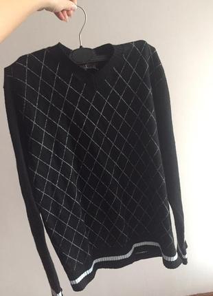 Свитер оверсайз базовый кэжуал мериносовая шерсть шерстяной ромбы