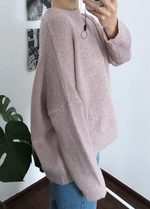 Лиловый оверсайз вязаный свитер new look
