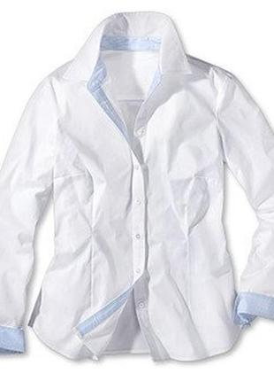 Шикарная белая рубашка из органического хлопка от тсм tchibo (чибо),раз укр 46-48 и48-50
