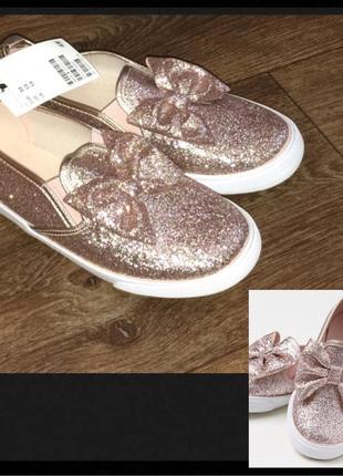 Сникерсы, тенниски, туфельки, слипоны h&m блестящие; с бантиком; размер 33 (21см)