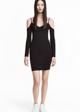 Чёрное трикотажное платье в обтяжку с открытыми плечами длинным рукавом h&m