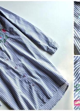 Новая удлиненная рубашка в полоску с вышивкой цветы