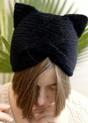 Чорна велюрова шапка чалма з вушками