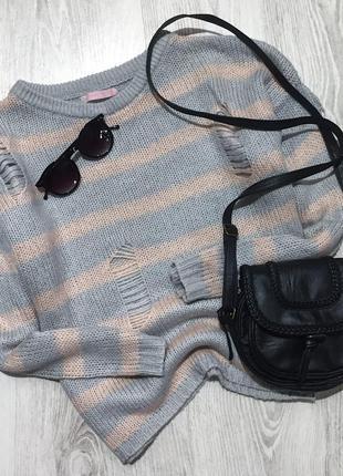 🌿 базовый вязаный свитер оверсайз bershka в полоску