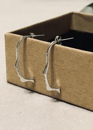 Серьги серебряные 925 пробы минимализм лицо