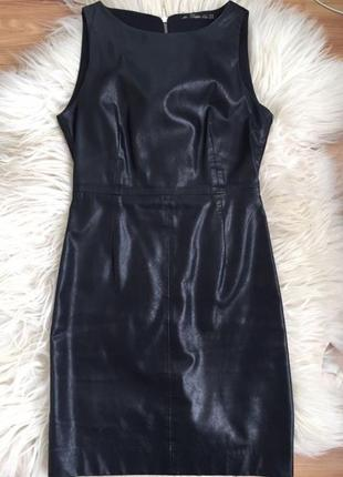 Платье zara эко-кожа чёрное кожаное нарядное вечернее новогоднее