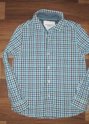 Клевая котоновая рубашка в клетку фирмы некст на 7 лет