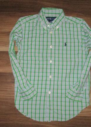 Клевенькая рубашечка в клетку  фирмы ральф лаурен на 5-6 лет