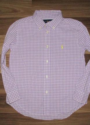 Клевенькая котоновая рубашка в клетку фирмы ральф лаурен на 6 лет