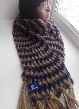 Шикарный фирменный длинный шерстяной шарф мягкий от renato balestra