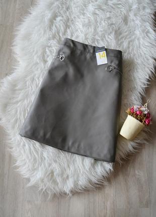 Новая юбка-трапеция под кожу с молниями primark