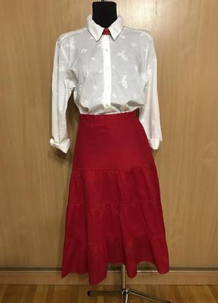 Хлопковая красная юбка