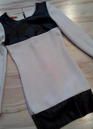 Вечернее платье с кожаными вставками,с,м,