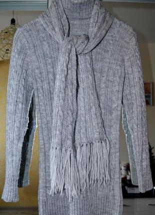 Длинный свитер туника с шарфом турция