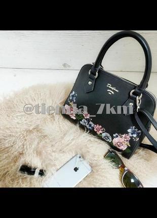 Женская сумка с вышивкой от david jones 5862-2 black (черный)