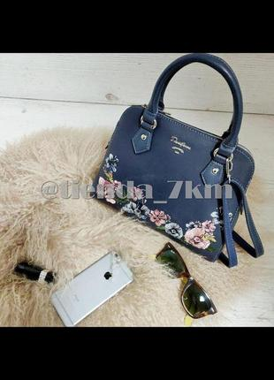 Женская сумка с вышивкой от david jones 5862-2 d.blue (синий)