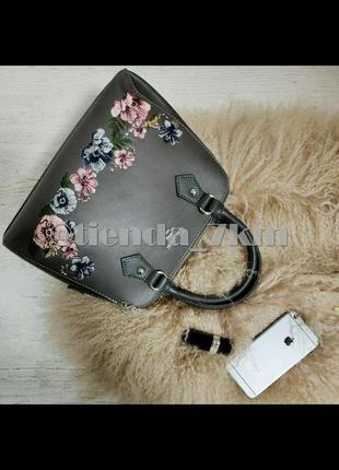 Женская сумка с вышивкой от david jones 5862-2 d.grey (серый)