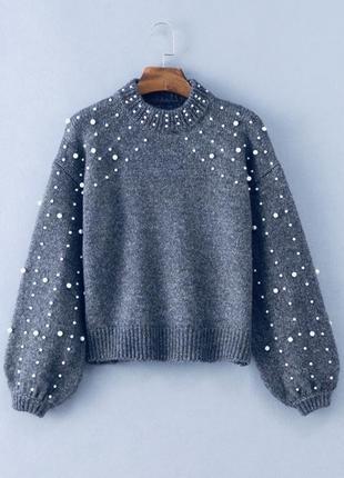 Скидка! зимний теплый женский свитер с жемчужинами wer39