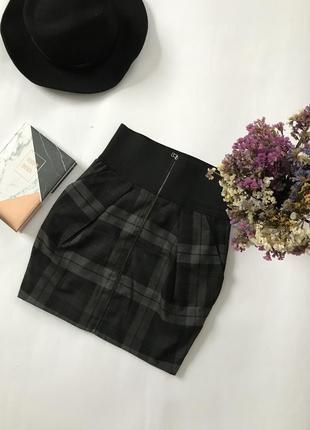 Юбка серая в клетку юбка мини юбка на замочку