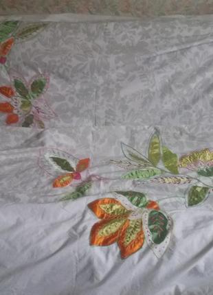 Двухспальный хлопковый пододеяльник 2000 х 2000 с красивой вышивкой