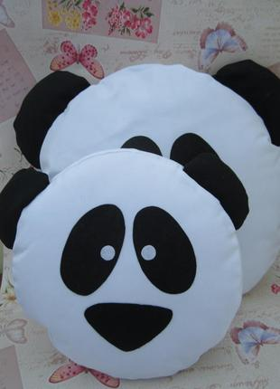 Подушка-смайлик панда emoji smile комплект (большая+маленькая)
