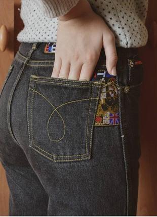 Темно-серые mom jeans