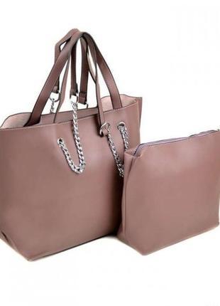 Женская сумка с клатчем-косметичкой
