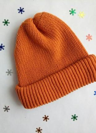 Шапка для осені і зими, шапка на осень и зиму, шапка оранжевая, шапка стильная!