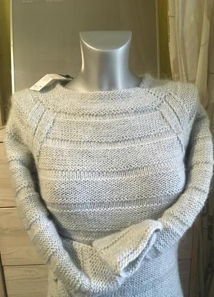 Новое шерстяное миди платье + хомут нежно серое италия 10-12 95% шерсть