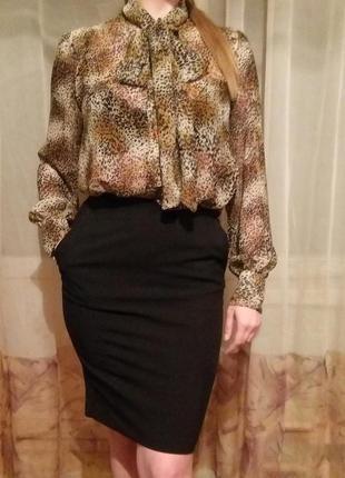 Прозрачная блуза с леопардовым принтом