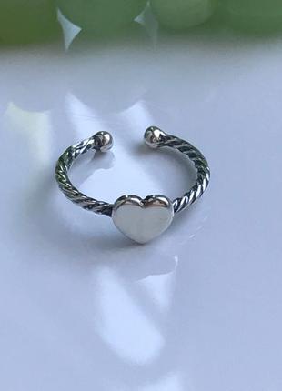Кольцо на фалангу серебряное сердечко 1533