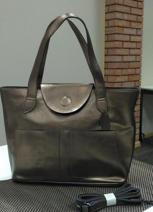 Кожаная большая сумка цвета бронза, новая коллекция