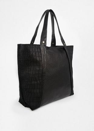58646092f052 Большая сумка шоппер, серебро перламутровый кожзам металлик, цена ...