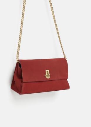 Шикарная сумка красного цвета zara, натуральная кожа и замша