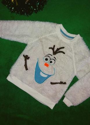 Теплая махровая кофта снеговик белая, рост 110-116