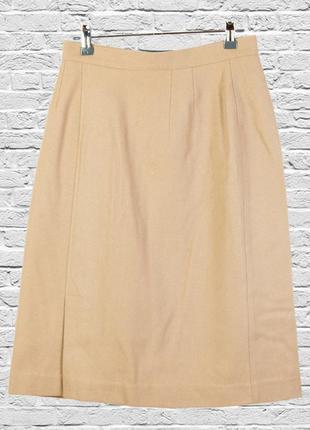 Шерстяная бежевая юбка миди, классическая юбка миди