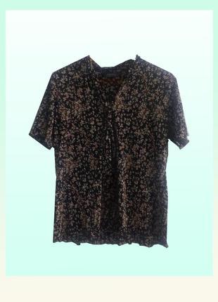 Шикарная блуза плиссе в цветочный узор